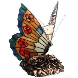 Quoizel Orange Butterfly Tiffany Light Accent Lamp